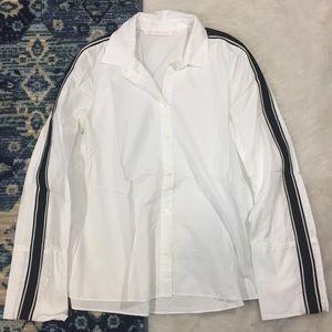 Zara White Button Down Shirt With Stripe